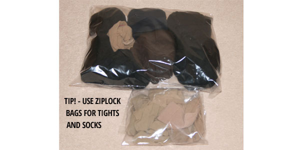 store tights in ziplock bags